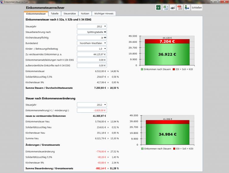 Private Finanzplanung - Einkommenssteuerrechner