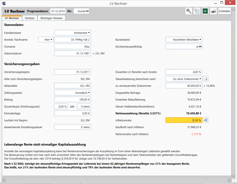 Private Finanzplanung - LV Rechner