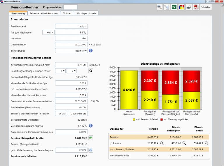 Private Finanzplanung - Pensions-Rechner