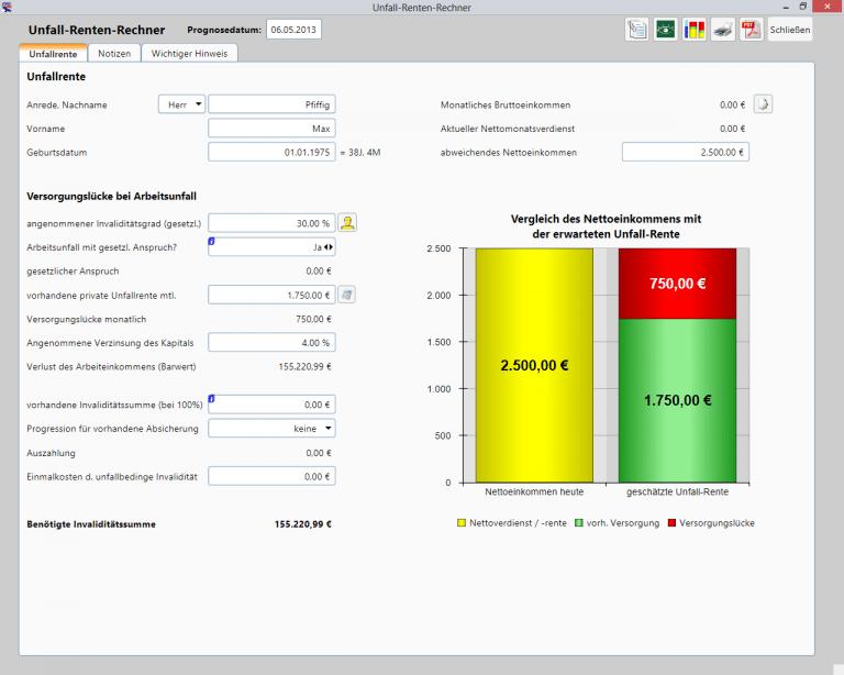 Private Finanzplanung - Unfall-Renten-Rechner